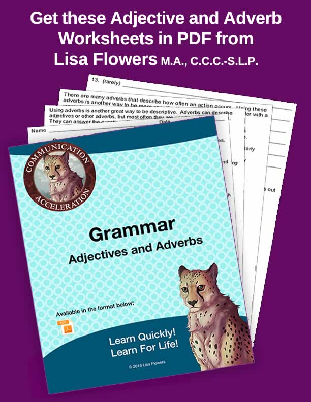 Adjectives and Adverbs Worksheets and Activities in PDF