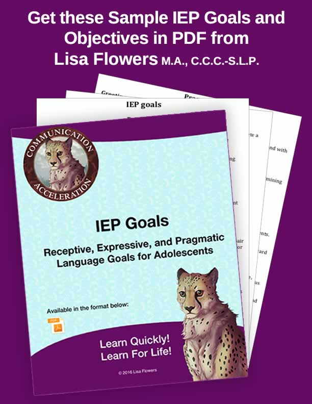 Sample IEP Goals and Objectives in PDF